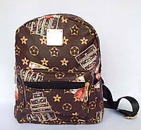 Рюкзак детский, подростковый для девочки с внешним и боковыми карманами коричневого цвета