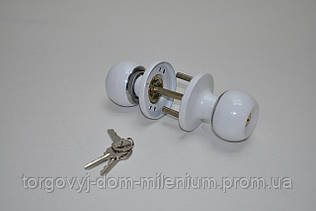 Ручка дверная с защелкой (цвет белый) HIDOOR ET607WW