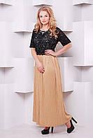 Платье с плиссированной юбкой БАДЕН коричневое