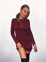 Платье бордовое мини длинный рукав р.40,42,44, фото 1