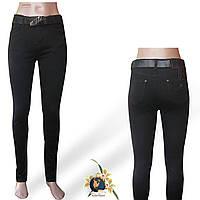 Женские чёрные джинсы с высокой посадкой Американка с ремнём.
