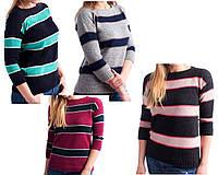 Полосатый джемпер с рукавом 3/4. Женский вязаный свитер в полоску. Джемпер вязаный женский.