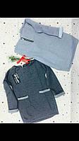 Модная темно-серая детская кофта-туника с карманами. Размеры: 116-146