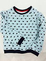 Детский серый джемпер с принтом сердечки. Размеры: 86-110