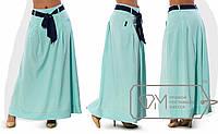 Юбка макси из стрейч-поплина, расклешённая от бедра, со съёмным подъюбником, карманами и контрастным поясом