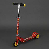 Самокат красный Тачки металлический, колеса PVC 12,5 см (466-363)