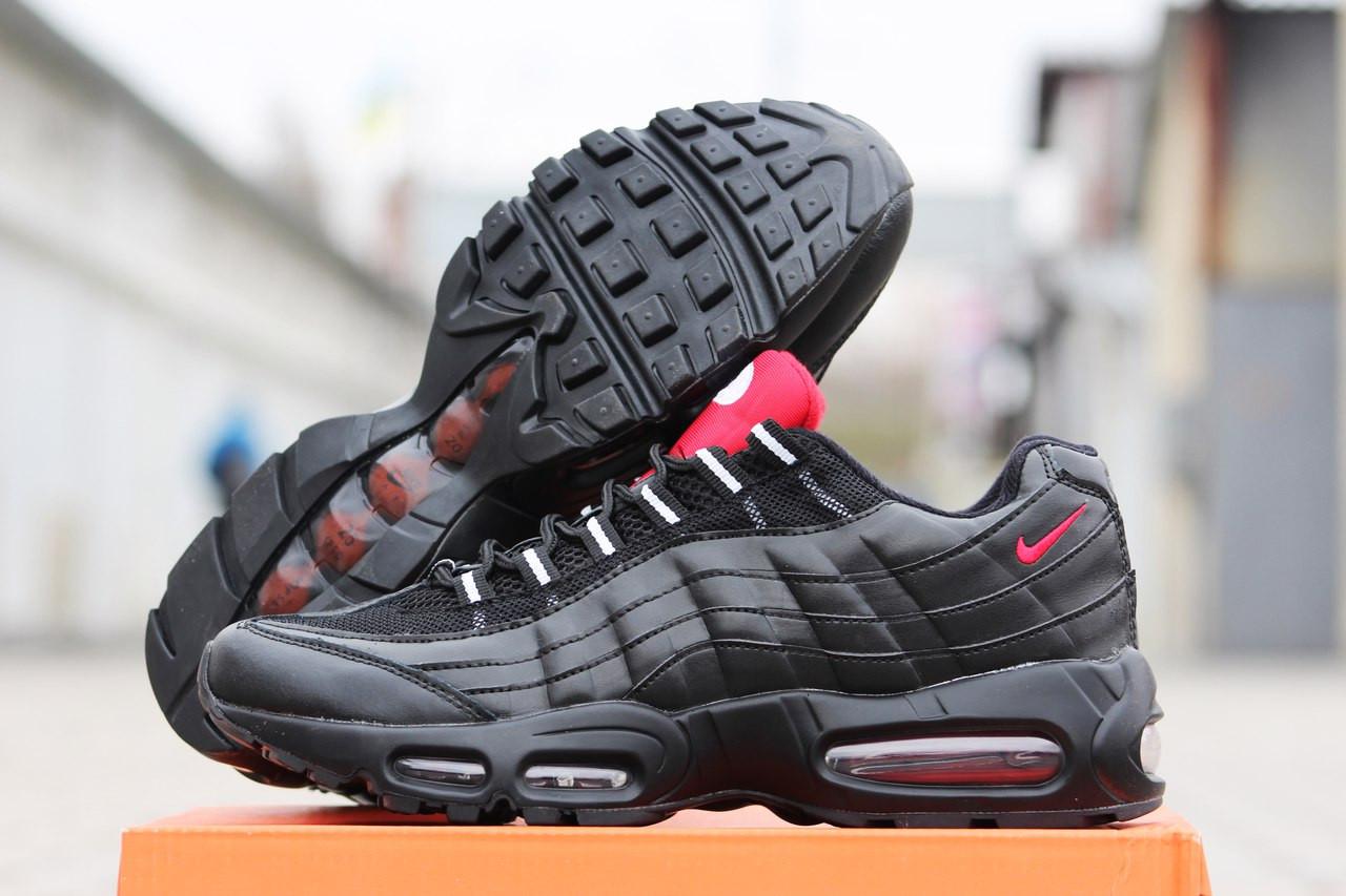 9963255f Мужские кроссовки Nike Air Max 95 черные с красным ( реплика ААА+) - bonny