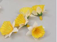 Головки нарцисса 2,2см мини желтые с белым Цветы искусственные