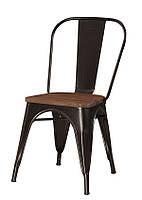 Стул стиль лофт TOLIX CHAIR D-1 Толикс D-1 стальной матовый каркас черного цвета, сиденье дерево вяз цвет орех