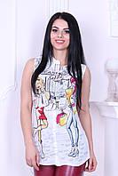 "Блузка женская из креп-шифона без рукавов ""Fashion girl"""