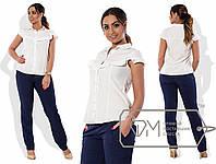 Блузка женская с рюшем белая VV/-1010