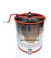 Медогонка 3-х рамочная Поворотная Нержавеющая бочка кассеты и ротор, фото 1