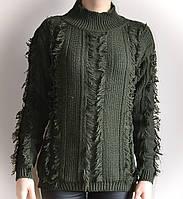 Свитер женский, молодежный, бахрама, зеленый