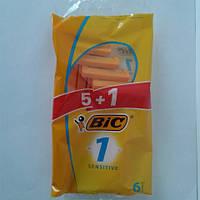 Станок мужской одноразовый для бритья BiC 1 Sensitive 5+1 шт. Бик 1 сенсетив Оригинал