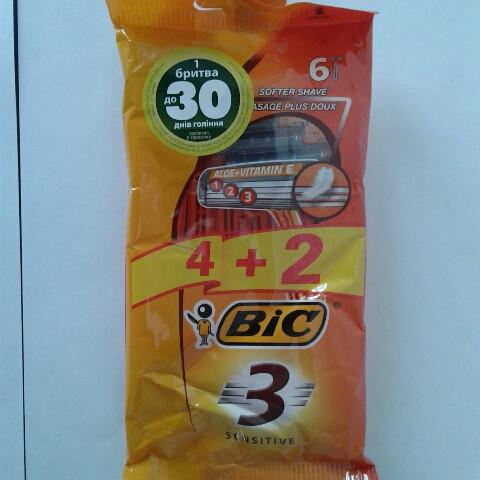 Станок мужской одноразовый BiC 3 Sensitive 4+2 шт. бик 3 сенсетив оригинал