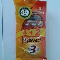 Станок мужской одноразовый BiC 3 Sensitive 4+2 шт. бик 3 сенсетив оригинал, фото 1