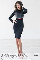 Облегающее черное платье кожаные вставки