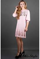 Стильное трикотажное розовое платье Айсель   Olis-Style 44-52 размеры