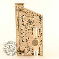 """Термометр с часами для бани и сауны """"Банная станция 2в1"""""""