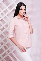 Женская персиковая блуза батал из тонкой, легкой и приятной на ощупь блузочной ткани - супер софт