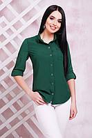 Женская изумрудная блуза батал из тонкой, легкой и приятной на ощупь блузочной ткани - супер софт