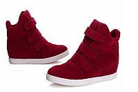 Ботиночки сникерсы красные замшевые Д359