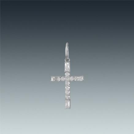 Серебряный крест с цирконом