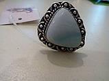 Кольцо с натуральным камнем ларимар (Доминикана) в серебре. Размер 19,5. Индия, фото 3
