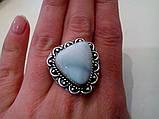 Кольцо с натуральным камнем ларимар (Доминикана) в серебре. Размер 19,5. Индия, фото 5