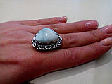 Кольцо с натуральным камнем ларимар (Доминикана) в серебре. Размер 19,5. Индия, фото 6