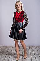 Женское нарядное платье кожаный низ + ажурный верх цвет красный с черным 5882