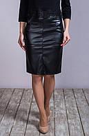 Женскя юбка-карандаш из эко-кожи с карманами черного цвета 6062