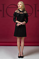 Женское трикотажное платье  черного цвета с воротничком 5905