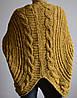 Женская вязанная накидка, вязанный жакет, горчица