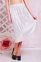 Стильная летняя плиссированная юбка миди серебристая