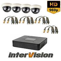 Комплект видеонаблюдения KIT-DOME 481: 4 видеокамеры 1000 TVL + видеорегистратор