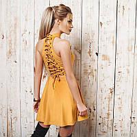 """Очень красивое замшевое платье с шнуровкой на спине в цвете """" кэмэл """"🐪👌🏼 фото реал флав№1071"""