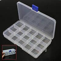 Пластикова коробка для зберігання намистин, розмір 17х10см (15ячеек)
