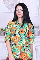 """Блузка женская летняя длинный рукав турецкая """"Цветы"""""""
