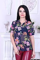 "Блузка женская летняя короткий рукав турецкая ""Цветы Шифон"""