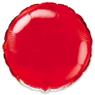 1204-0093 Фольгированный шар Круг красный металик 44 см