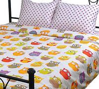 Детское сатиновое постельное белье Совы - размер полуторный