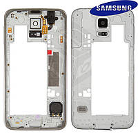 Средняя часть корпуса для Samsung Galaxy S5 G900H, серебристая, оригинал