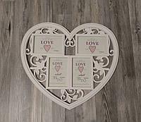 Мультирамка свадебная Сердце на 4 фото