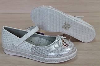 Школьные туфли на девочек белого цвета с перламутровым носком тм Тom.m р.35, фото 3
