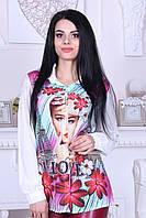 """Рубашка женская белая с принтом турецкая """"Sweet Love"""" 44"""