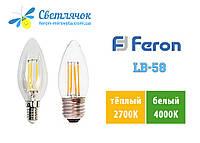 Светодиодная лампа свеча Е14/Е27 4W Feron LB-58
