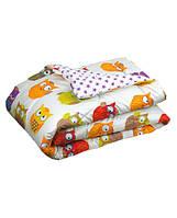 Одеяло силиконовое 140х205 демисезонное (ткань сатин) Совы