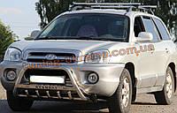 Защита переднего бампера кенгурятник с надписью  из нержавейки на Hyundai Santa Fe 2000-2006