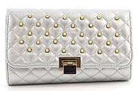 Компактная каркасная стильная женская оригинальная стеганая сумка клатч  art. 939 серебро